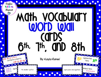 Middle School Math Vocabulary Word Wall Cards - 6, 7,8 IN