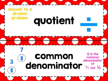 Middle School Math Vocabulary Word Wall Cards (In Red!) - 6th, 7th, 8th Grade!