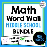 Middle School Math Vocabulary Word Wall Cards - 6th, 7th,