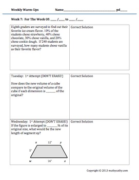 Middle School Math Warm-Ups Galore! Encourage Error Analysis & Reflection