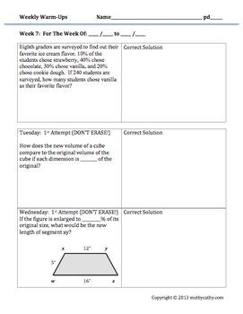 Middle School Math Warm-Ups Galore! Encourage Error Analysis & Reflection