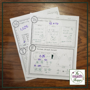 Middle School Math Weekly Warm-up Template