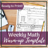 Middle School Math Weekly Warm-up Template   Ready to Prin