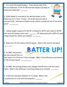 middle school math word problem and game baseball review tpt. Black Bedroom Furniture Sets. Home Design Ideas