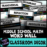 Middle School Math Word Wall - Math Posters