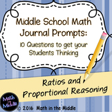 Middle School Math Writing Prompts: Ratios & Proportional Reasoning