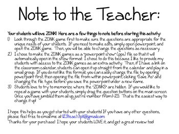 ZONK Review Game Teacher Directions and Student Recording Sheet