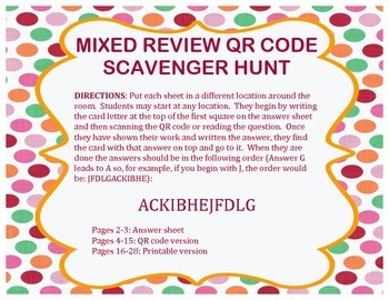 6th Grade Math Year End Review Scavenger Hunt (2 versions: QR code & printable)