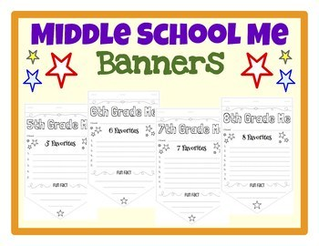 Middle School Me (All About Me) Banner First Day of School