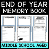 Middle School Memory Book-End of the Year Activities