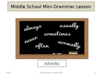 Middle School Mini Grammar Lessons-Adverbs