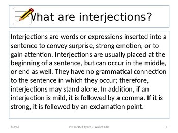 Middle School Mini Grammar Lessons-Interjections