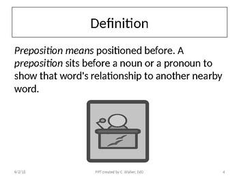 Middle School Mini-Grammar Lessons: Prepositions