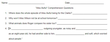 """Middle School""""Miss Awful"""" by Arthur Cavanaugh Guided Reading Worksheet"""