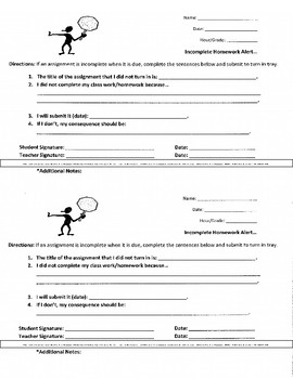 FREEBIE ALERT!!! Middle School ELA Missing or Incomplete Assignment Alert