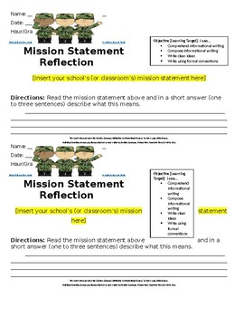 Middle School ELA Mission Statement Reflection