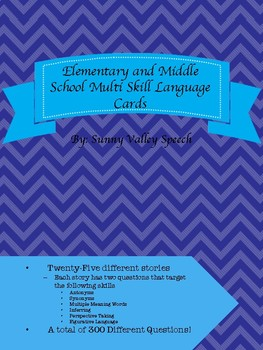 Elementary/Middle School Multi Skill Language Cards- 300 Different Questions!