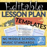 Middle School Music Lesson Plan Templates - North Carolina