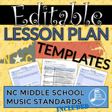 Middle School Music Lesson Plan Templates - North Carolina
