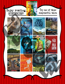 Middle School Mystery Reads!!  Book Recommendations Poster