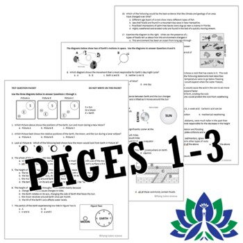 Middle School NGSS MS-ESS Earth and Space Sciences FINAL EXAM ASSESSMENT