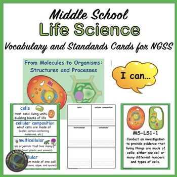 Middle School NGSS Life Science Vocabulary Cards and I Can Statements
