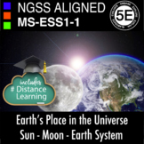 Middle School NGSS MS-ESS1-1 Earth Sun Moon System Print and Distance Learning