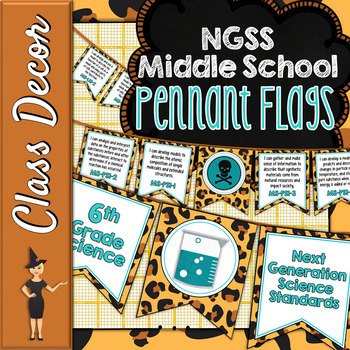 Middle School NGSS Pennant Banners - Leopard & Turquoise