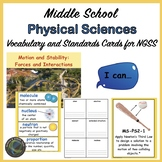Middle School NGSS Physical Science Vocabulary Cards and I Can Statements