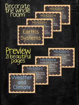 Middle School NGSS Poster Bulletin Board for Earth Space Science