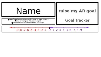 Middle School Name Tags with goal tracking, number line, area formulas