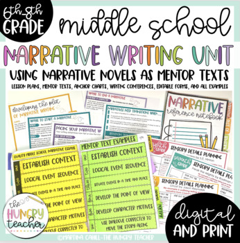 Middle School Narrative Essays Writing Unit 7th and 8th Grade Narratives
