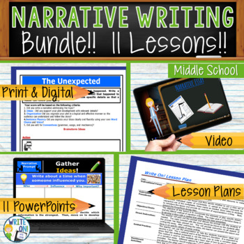 Personal Narrative Writing Lessons Prompts BUNDLE 11 Lessons