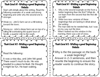 Middle School Narrative Writing Task Cards-Practice Before You Write! {CCSS}
