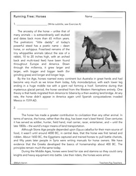 """Middle School """"No Prep"""" Reading and Writing Mini-Unit: Domesticated Animals"""
