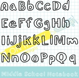 Middle School Notebook FONT  {FREEBIE!} {CU OK}
