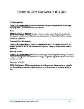 Middle School Novel Study (THE SCHOOL STORY)--Common Core Aligned