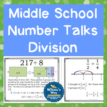 Middle School Number Talks Division Editable