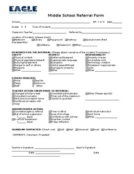 Middle School Office Referral Form