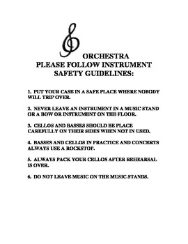 Middle School Orchestra Instrument Safety Guidelines