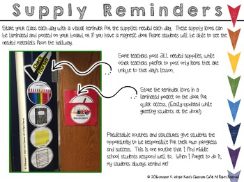 Middle School Organization: Supply Reminder Icons