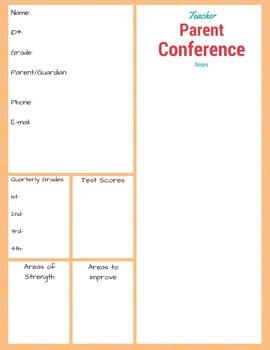 Middle School Parent/ Teacher Conference Form