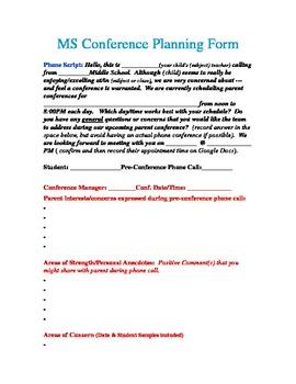 Middle School Parent-Teacher Pre-Conference Phone Script