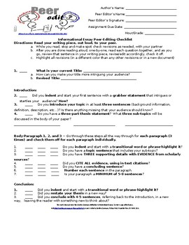 Expository Research Peer-Editing Essay Checklist