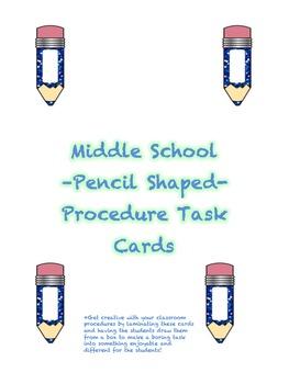Middle School -Pencil Shaped- Procedure Task Cards