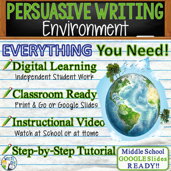 PERSUASIVE WRITING PROMPT - Environment - Middle School
