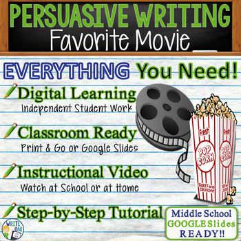 PERSUASIVE WRITING PROMPT - Favorite Movie - Middle School