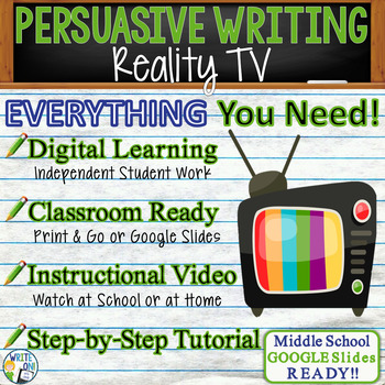 PERSUASIVE WRITING PROMPT - Reality TV - Middle School