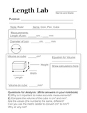 Middle School Physical Science Length Lab with Worksheet and Instruction