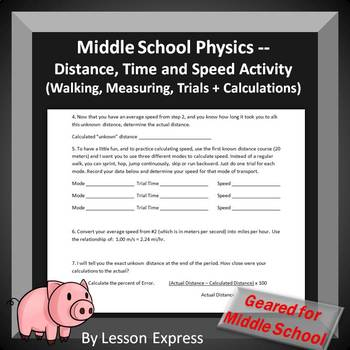 Middle School Physics -- Distance, Time and Speed Activity